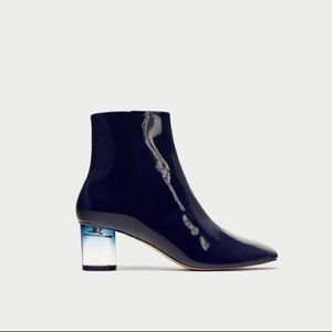 Zara navy blue patent ankle boots with clear heel